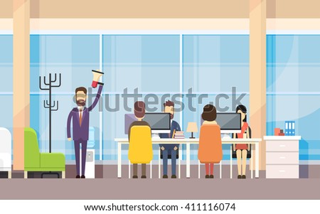 Businessman Boss Hold Megaphone Loudspeaker Colleagues Business People Team Leader Group Businesspeople Working Office Interior Flat Vector Illustration - stock vector