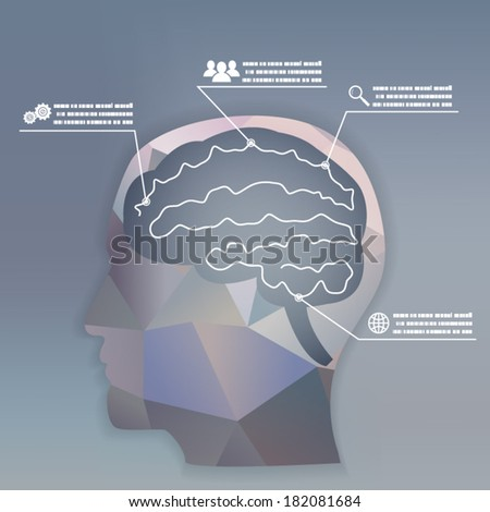 Businessman Brain Headmind Social Network Media Icon Infographics Vector illustration - stock vector