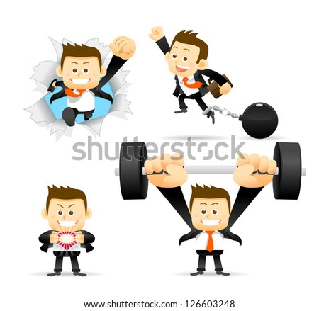 Businessman Breaking free & Success. - stock vector