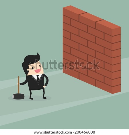 businessman breaking wall with hammer - stock vector