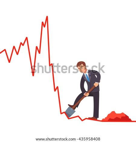 Businessman broker trying to gain short profits on falling market. Digging cash with shovel on declining market shares on line graph. Market crisis concept. Flat style vector illustration clipart. - stock vector