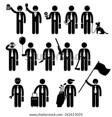 Businessman Business Man Holding Objects Man Stick Figure Pictogram Icon - stock vector