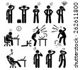 Businessman Business Man Stress Pressure Workplace Stick Figure Pictogram Icon - stock vector
