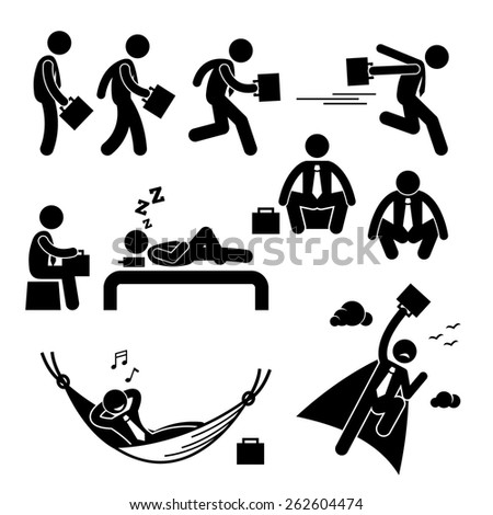 Businessman Business Man Walking Running Sleeping Flying Stick Figure Pictogram Icon - stock vector