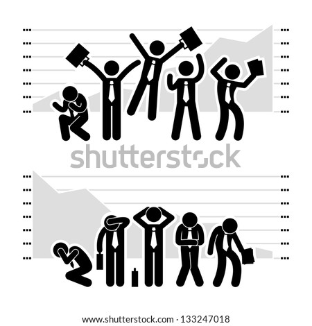 Businessman Business People Winning Losing in Stock Market Graph Chart Stick Figure Pictogram Icon - stock vector