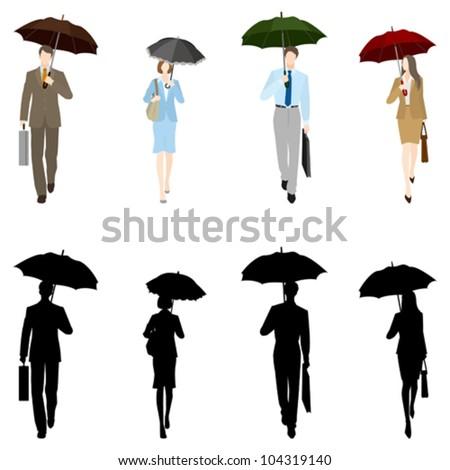Businessman?BusinessWoman / In the rain - stock vector
