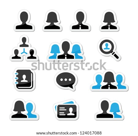 Businessman businesswoman user vector icons set - stock vector