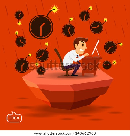 Businessman busy in time pressure working - stock vector