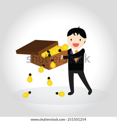 Businessman can get good idea and put idea in a box - stock vector