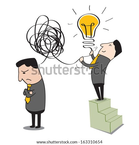 Businessman can making idea from his partner who is confused with his thinking. Abstract background on getting idea concept.  - stock vector