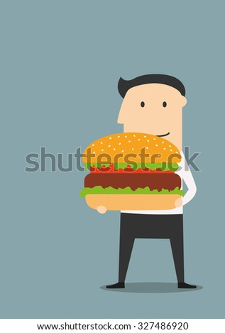 Businessman carrying a big hamburger with a beef patty and trimmings. For fast food theme concept - stock vector