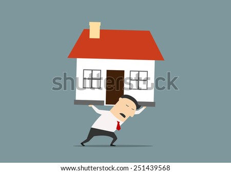 Businessman carrying a house on his back with an expression of strain and pain conceptual of the financial burden of ownership - stock vector