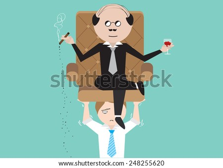 Businessman carrying boss on his shoulder. - stock vector