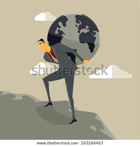 businessman carrying earth on his shoulders stock vector royalty