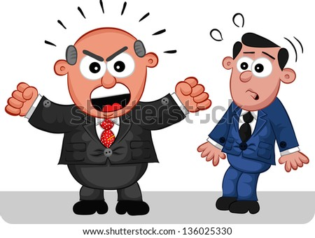 Businessman. Cartoon boss man angry and shouting at a frightened employee. - stock vector