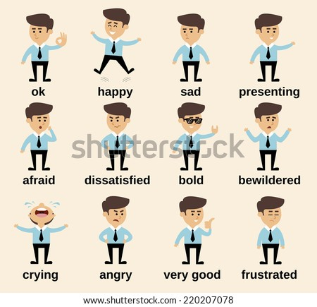 Businessman cartoon character emotions set isolated vector illustration - stock vector