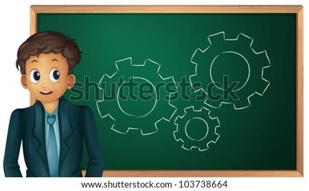 Businessman cartoon presenting on blackboard - stock vector