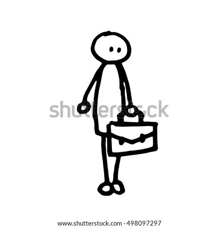businessman cartoon stick man simple black and white outline vector illustration line art hand sketch - Outline Cartoon Pictures