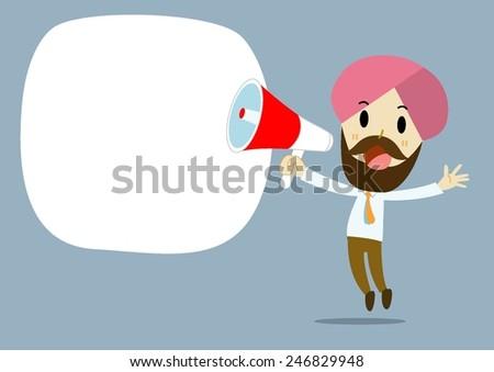 businessman cartoon vector Hand holding a megaphone, promotion marketing concept - stock vector