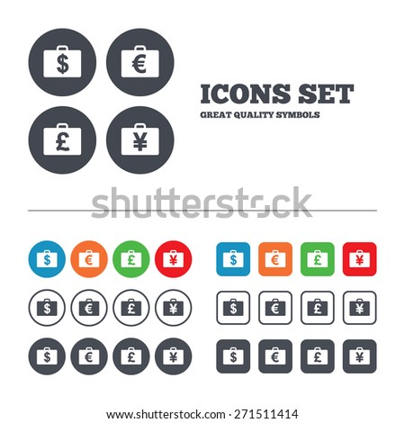 Businessman case icons. Cash money diplomat signs. Dollar, euro and pound symbols. Web buttons set. Circles and squares templates. Vector - stock vector