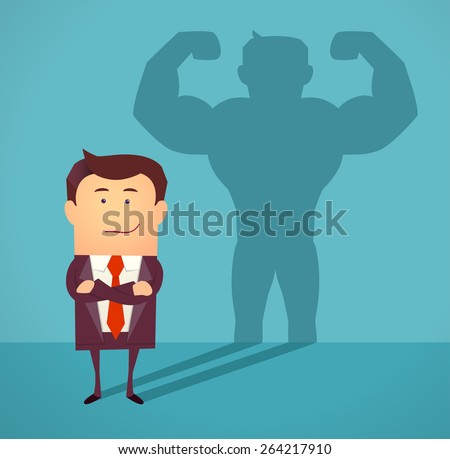 Businessman casting strong man shadow. Successful businessman concept. Vector illustration - stock vector