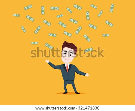 Businessman catches flying dollars. Man catches the money, vector illustration.