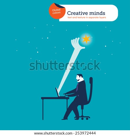 Businessman catching a star from his laptop. Vector illustration Eps10 file. Global colors. Text and Texture in separate layers. - stock vector