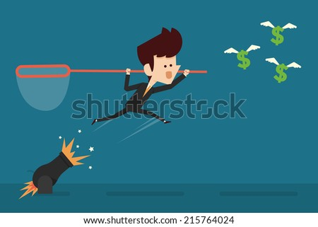 Businessman Catching Money - stock vector