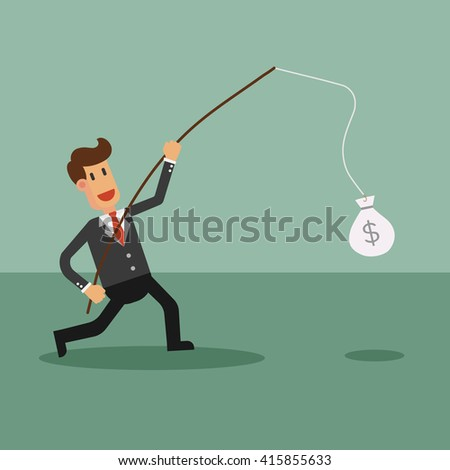Businessman Catching Money With Fishing Rod. Business Concept Cartoon Illustration