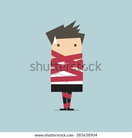 Businessman caught in red tape vector - stock vector