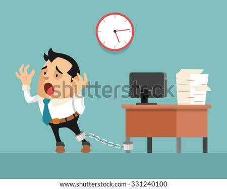 Businessman chained to the desk. Vector flat illustration - stock vector
