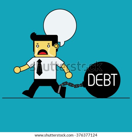 Businessman chained with iron debt ball. - stock vector