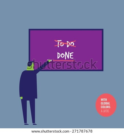 Businessman changing from a to do list to a done list. Vector illustration Eps10 file. Global colors&layers. - stock vector