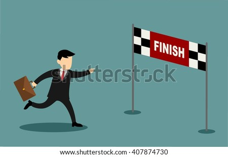 Businessman character and cartoon running into finish line achieving accomplishment - stock vector