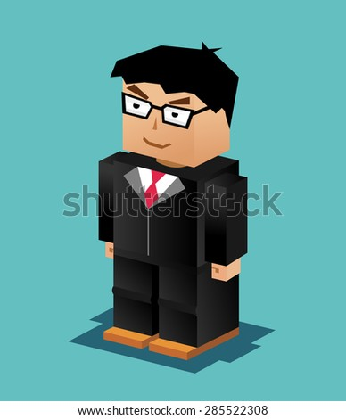 Businessman Character. Businessman Illustration. Businessman working. 3d flat design. Executive business. - stock vector