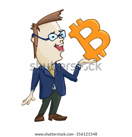 Businessman character design with sign bitcoin. - stock vector