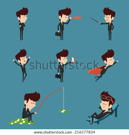 businessman character flat design collection - stock vector