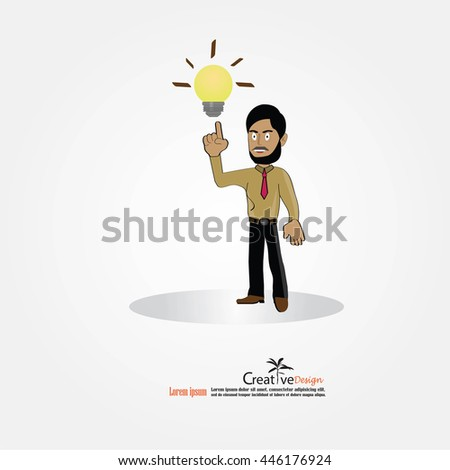 businessman character with bulb.creative idea concept.vector illustration.