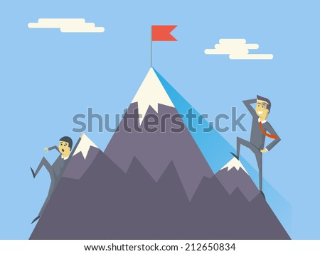 Businessman Characters Achievement Top Point Flag Goal Symbol Mountain clouds Icon on Stylish Background Modern Flat Design Vector Illustration - stock vector