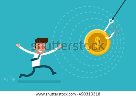 Businessman chasing money trap, flat style cartoon.
