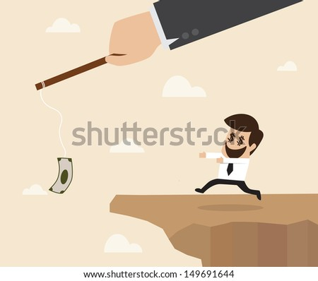 Businessman chasing money trap to the edge of cliff - stock vector