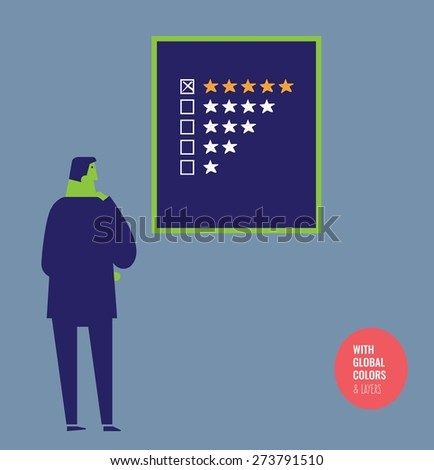 Businessman checking a quality star chart. Vector illustration Eps10 file. Global colors&layers.