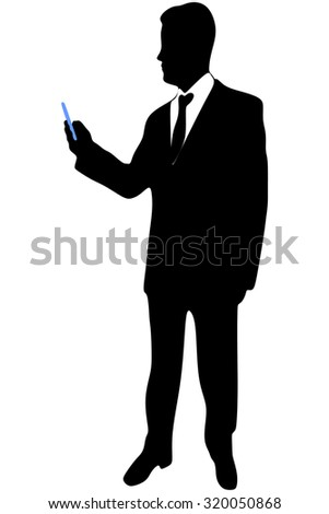 businessman checking emails on the phone - stock vector