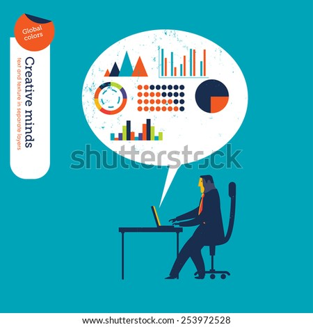 Businessman checking his laptop with speech bubble and charts. Vector illustration Eps10 file. Global colors. Text and Texture in separate layers. - stock vector