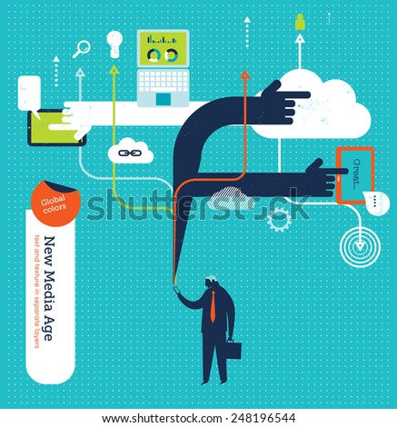 Businessman checking his phone with many applications and symbols. Vector illustration Eps10 file. Global colors. Text and Texture in separate layers. - stock vector