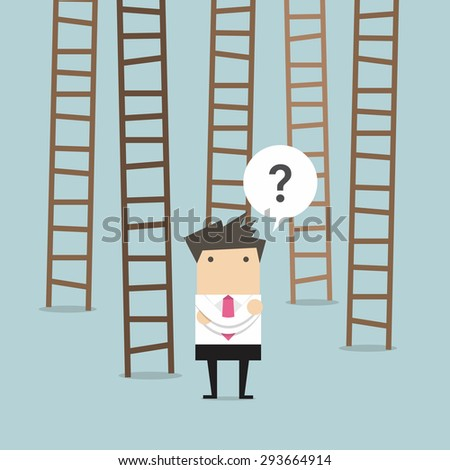 businessman choices ladder to success - stock vector