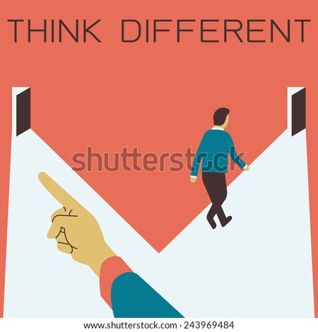 Businessman choose and walk to the door opposite to the one which businessman's hand pointing to, business concept in think different or individuality. Flat design and simple character.  - stock vector