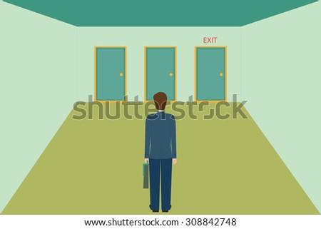 Businessman choosing the exit door, vector illustration. - stock vector