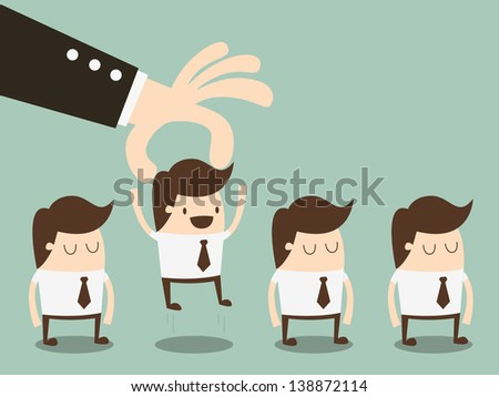 businessman choosing worker from group of businesspeople - stock vector
