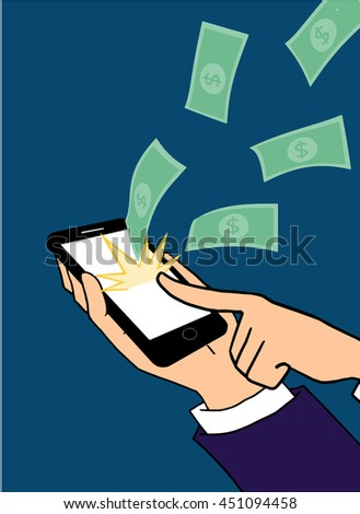 Businessman click on screen for work with mobile phone and make money a lot concept vector.